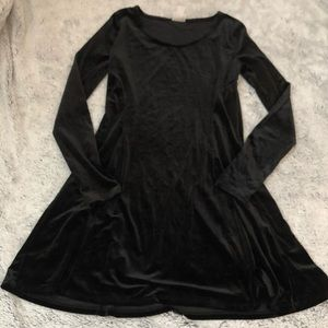 Mossimo Black Velvet Long Sleeve Skater Dress